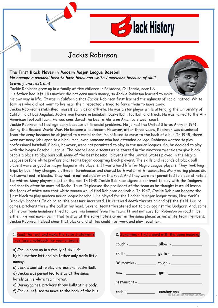 Black History: Jackie Robinson (2 Pages) Worksheet - Free Esl | Free Printable Worksheets On Jackie Robinson