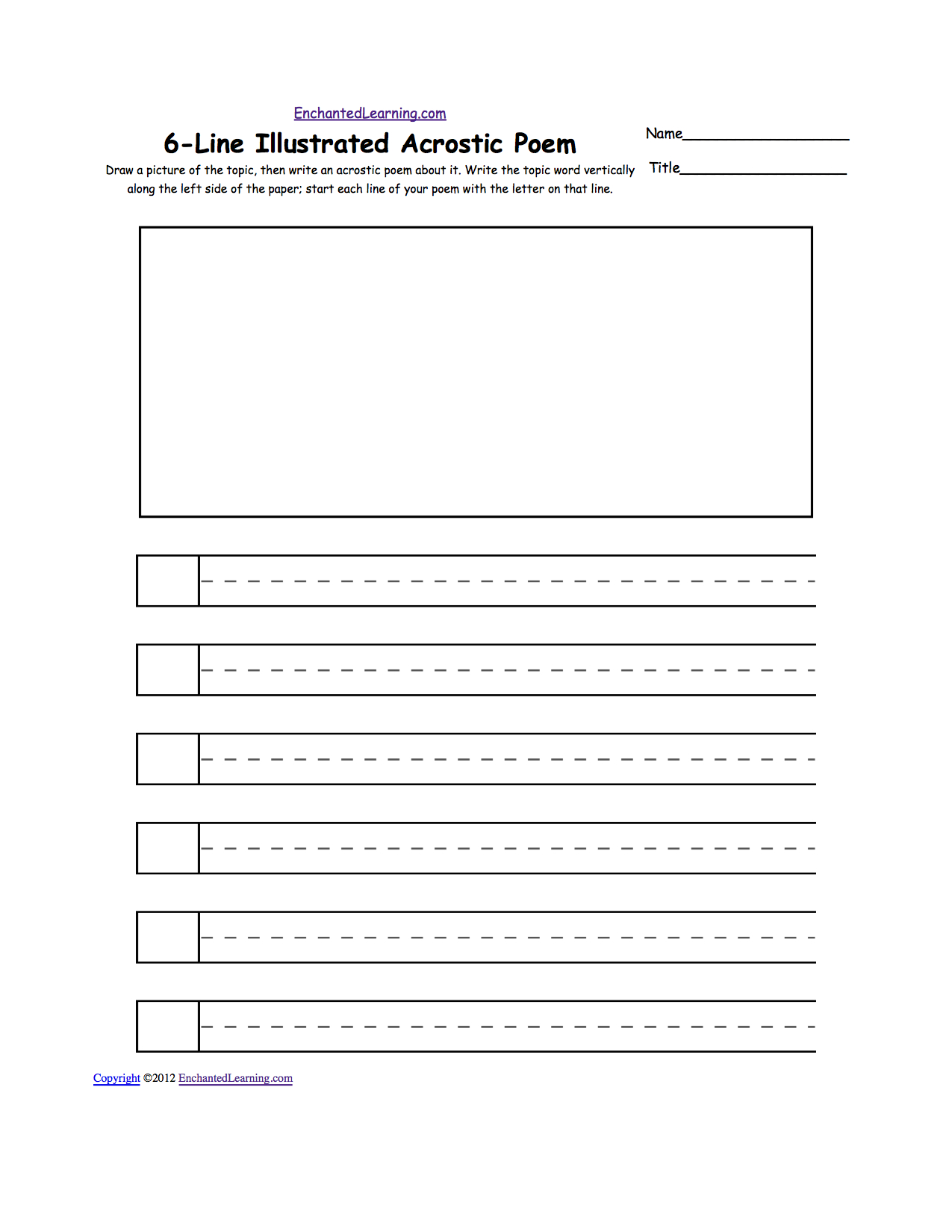 Blank Illustrated Acrostic Poem Worksheets (Handwriting Lines | Poetry Worksheets Printable