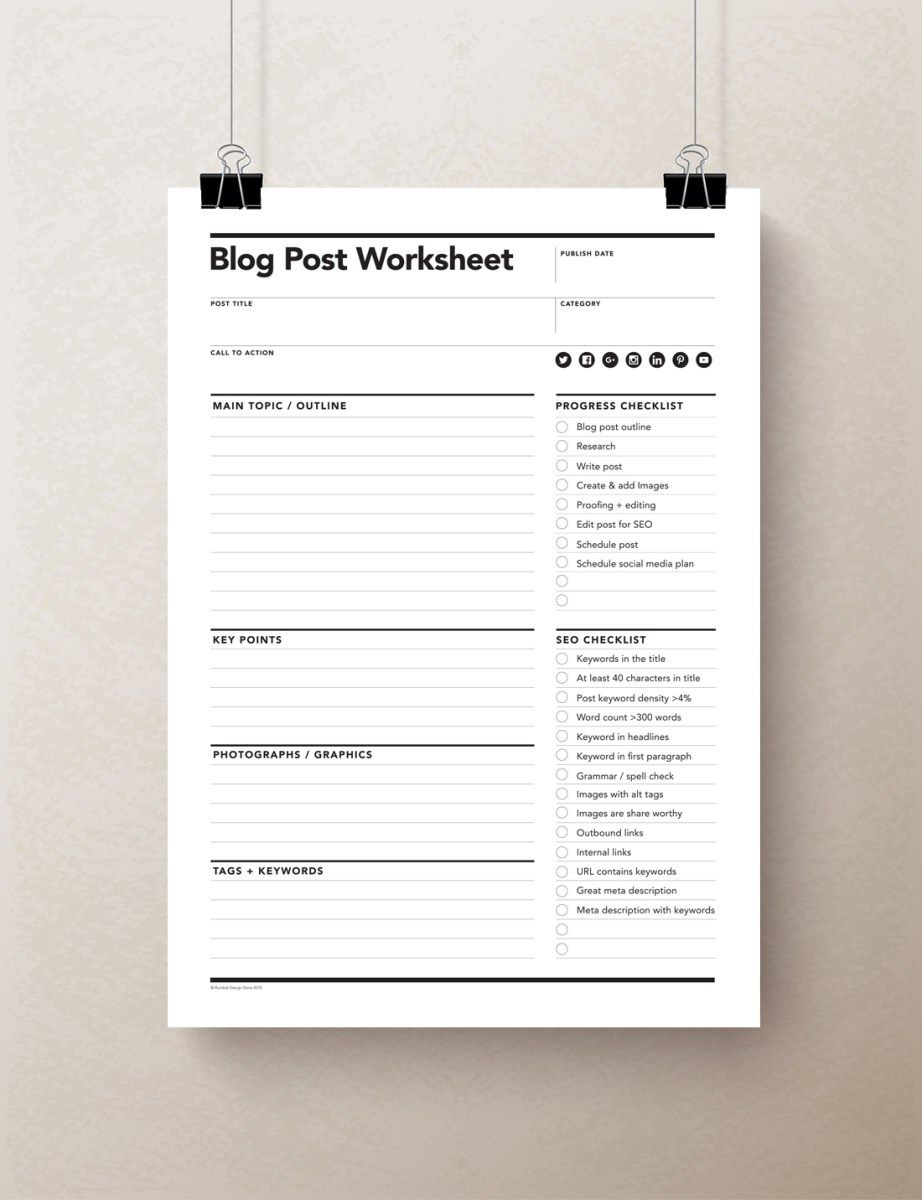 Blog Planner Worksheet, Blog Worksheet | Rumbledesignstore | Blog Worksheet Printable