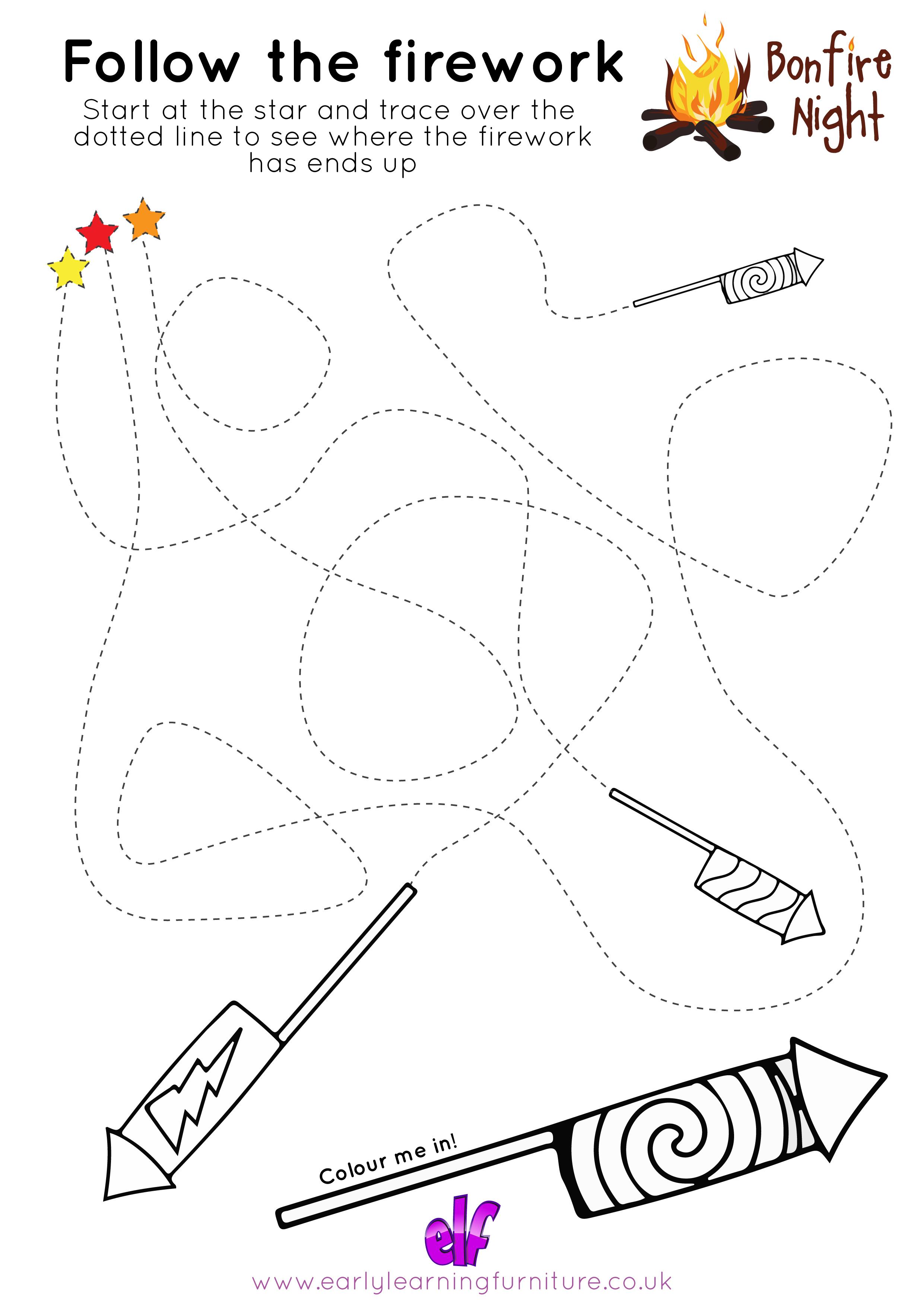 Bonfire Night Printable Activities And Worksheets | Free Teaching | Printable Pencil Control Worksheets