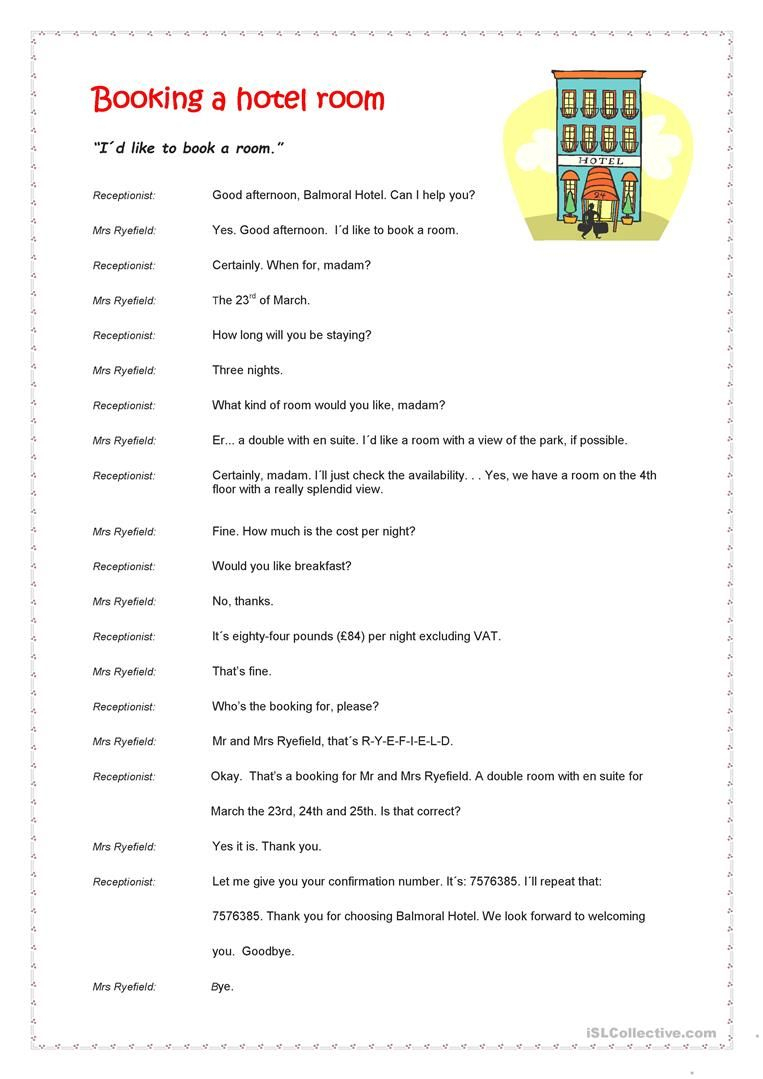 Booking A Hotel Room Worksheet - Free Esl Printable Worksheets Made | Hospitality Worksheets Printable