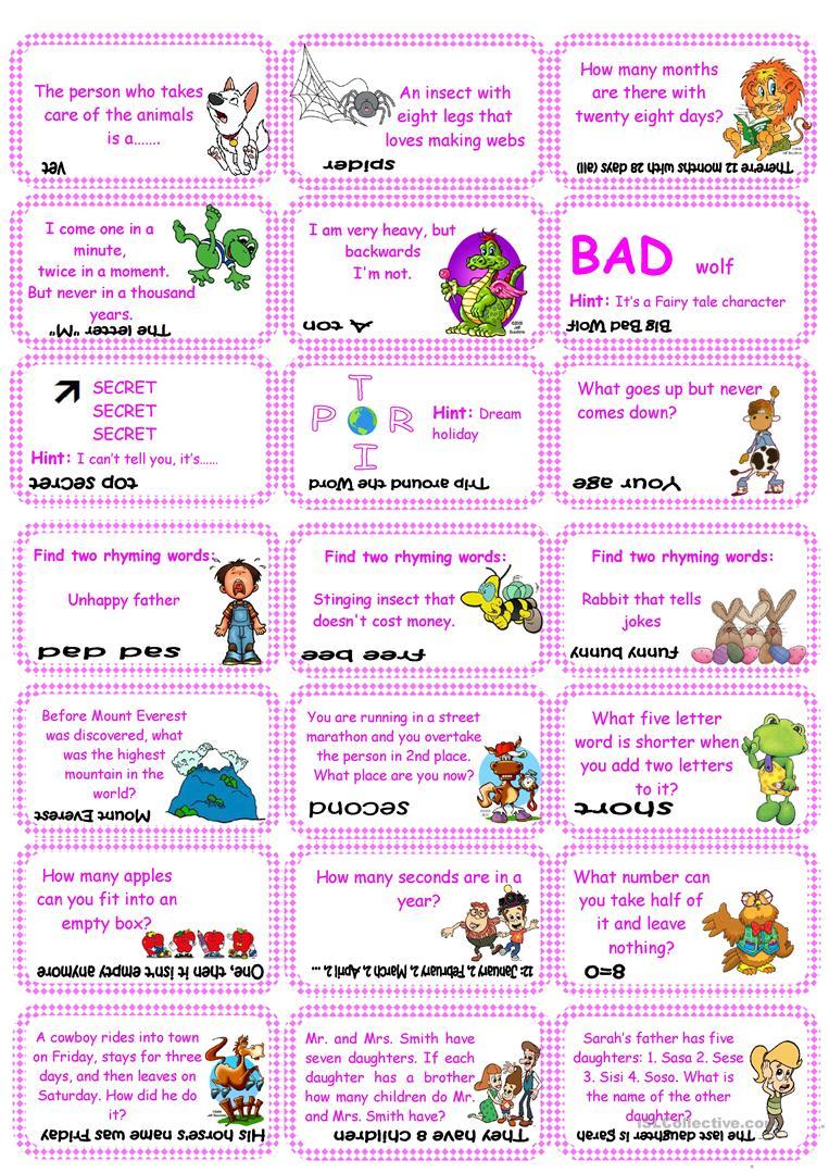 Brain Teasers, Riddles & Puzzles Card Game (Set 1) Worksheet - Free | Riddles Worksheets Printable
