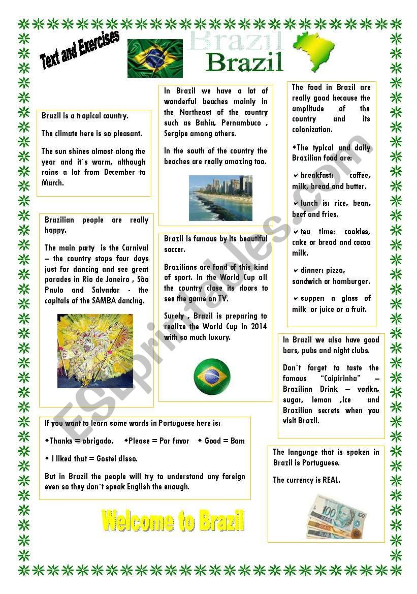 Brazil - Esl Worksheetmiriamgoshinha | Brazil Worksheets Free Printables
