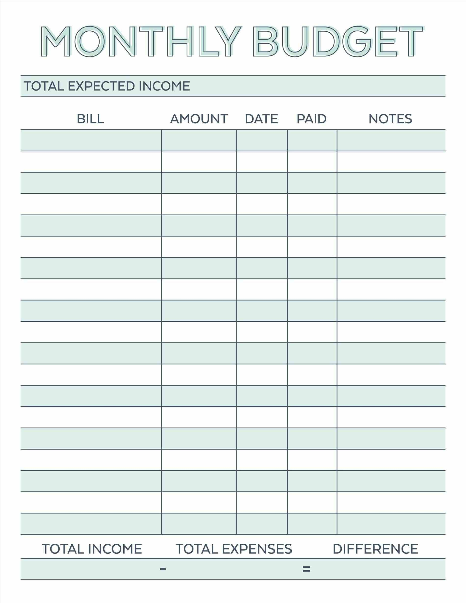 Budget Planner Planner Worksheet Monthly Bills Template Free | Budget Helper Worksheet Printable