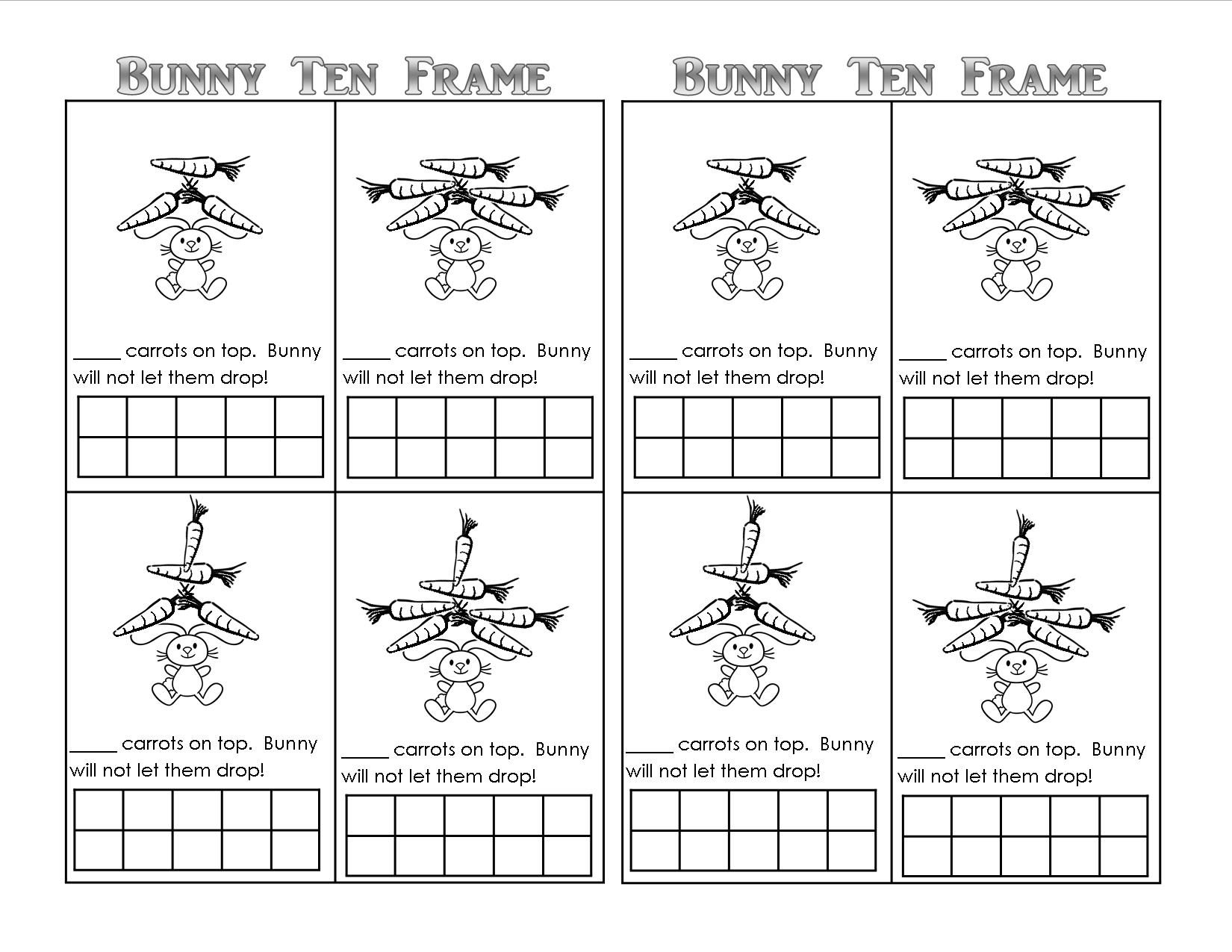Bunny Time Ten Frame! (Free Printables) - Teaching Heart Blog | Frame Games Printable Worksheets