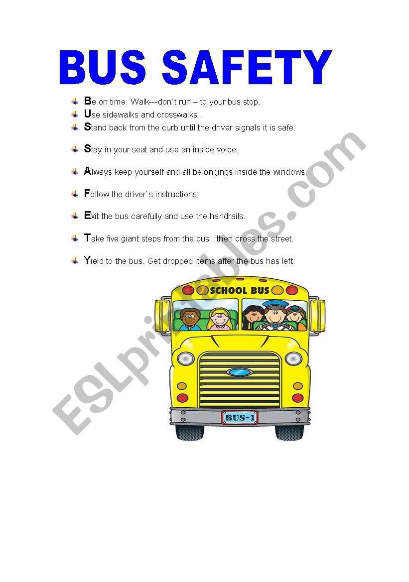 Bus Safety - Esl Worksheetisabelri | Free Printable School Bus Safety Worksheets