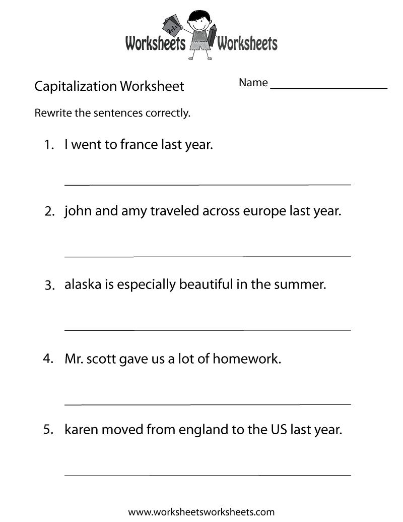 Capitalization Worksheets | Capitalization Practice Worksheet - Free | Year 3 Literacy Worksheets Printable