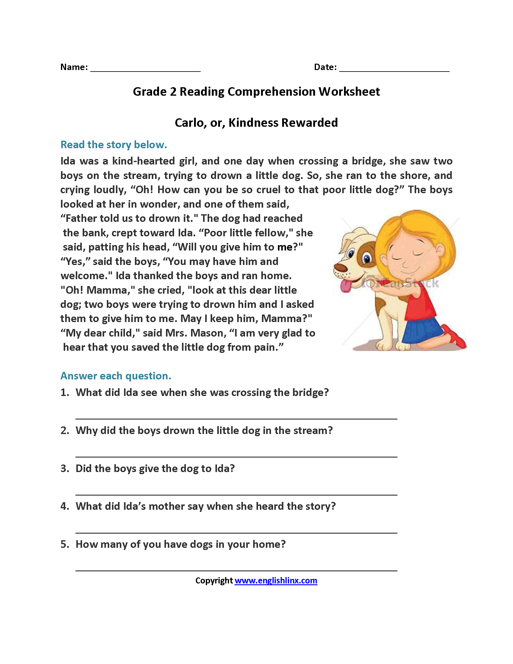 Carlo Or Kindness Rewarded Second Grade Reading Worksheets | Reading | Third Grade Reading Worksheets Free Printable
