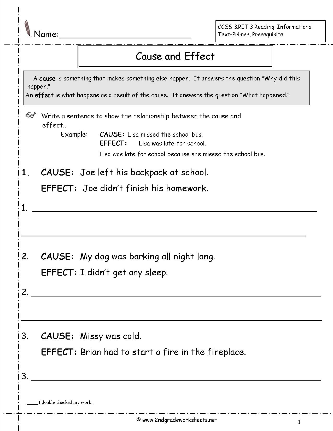 Cause And Effect Worksheets | Free Printable Cause And Effect Worksheets For Third Grade