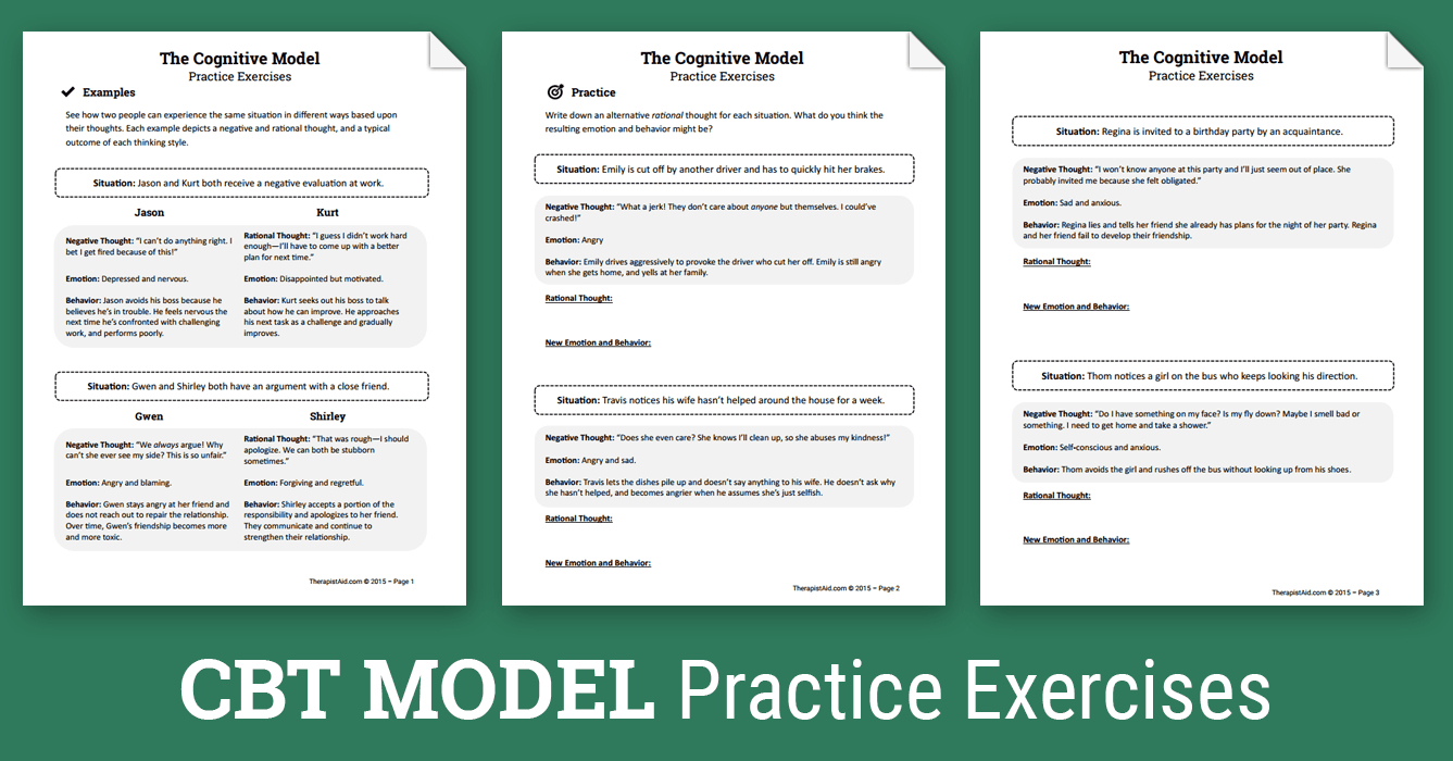 Cbt Practice Exercises (Worksheet) | Therapist Aid - Free Printable | Free Printable Counseling Worksheets