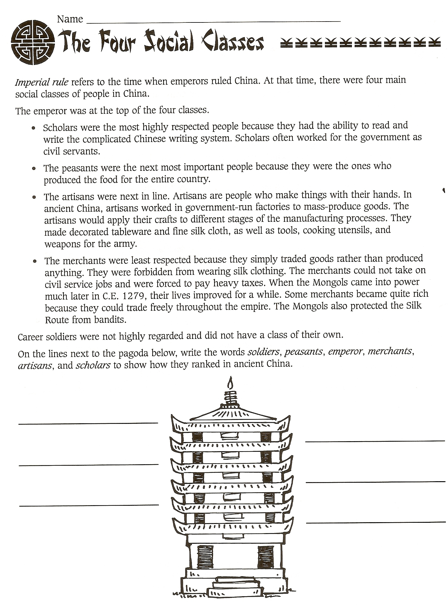 Chapter 5 Ancient China | Mr. Proehl's Social Studies Class | Ancient China Printable Worksheets