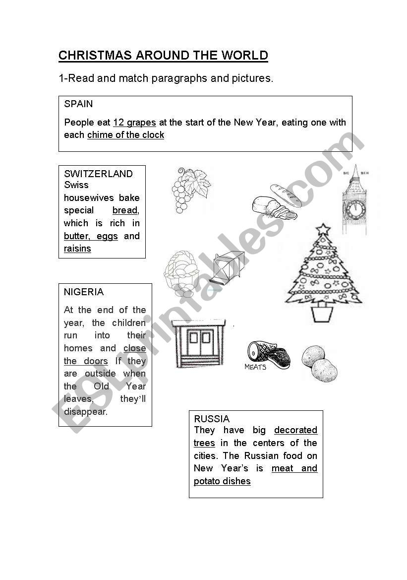 Christmas Around The World - Esl Worksheetjag6 | Christmas Around The World Worksheets Printables