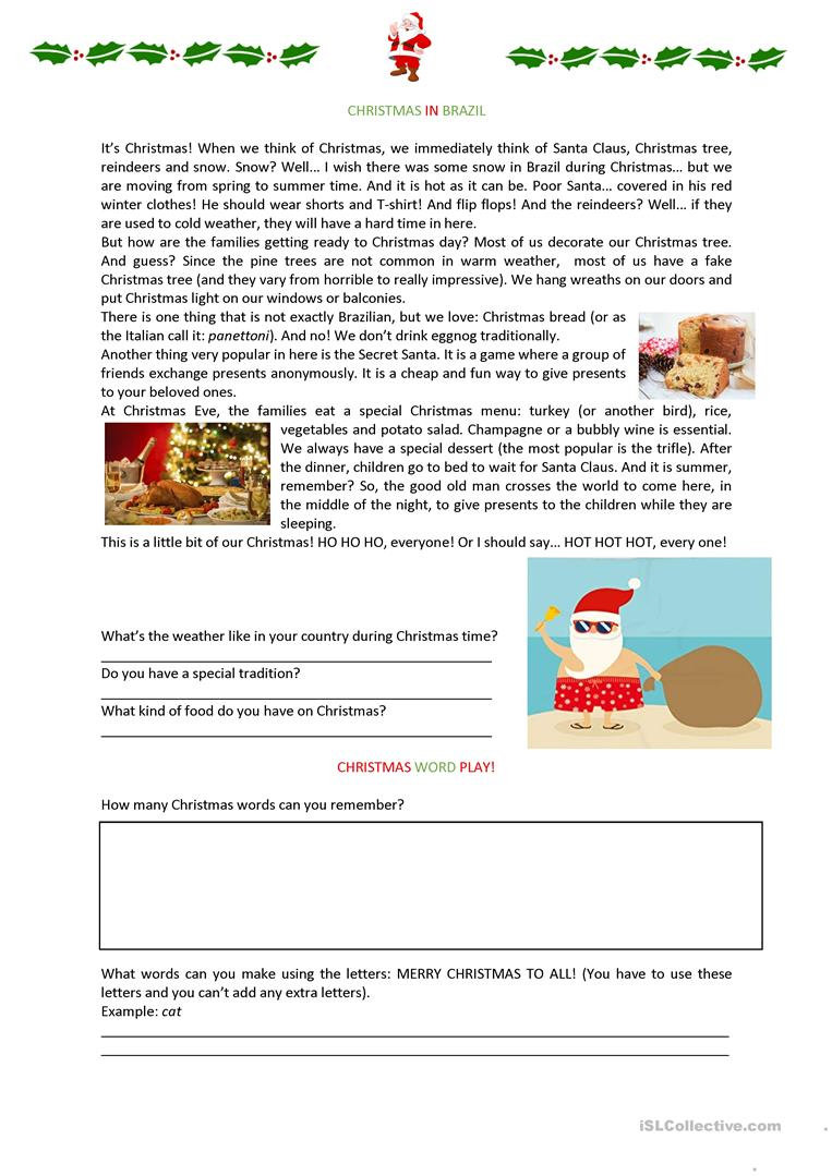 Christmas In Brazil Worksheet Worksheet - Free Esl Printable | Brazil Worksheets Free Printables