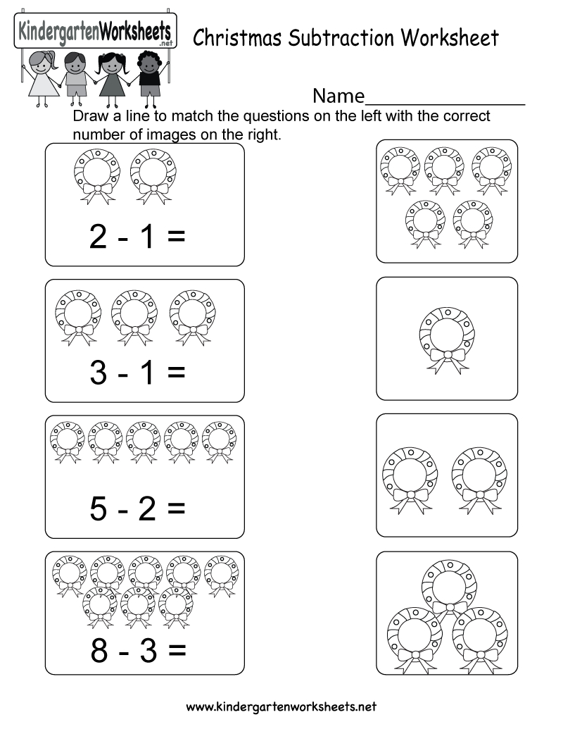 Christmas Subtraction Worksheet - Free Kindergarten Holiday | Free Printable Christmas Math Worksheets Kindergarten