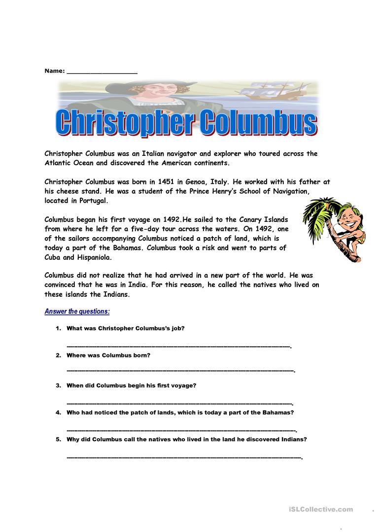 Christopher Columbus Worksheet - Free Esl Printable Worksheets Made | Christopher Columbus Printable Worksheets