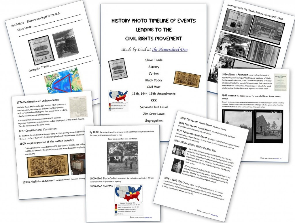 Civil Rights Movement - Homeschool Den | Civil Rights Movement Worksheets Printable