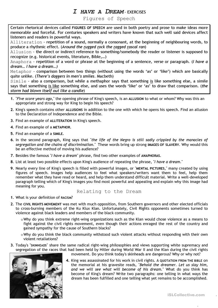 Civil Rights Movement_ I Have A Dream Worksheet - Free Esl Printable | Civil Rights Movement Worksheets Printable