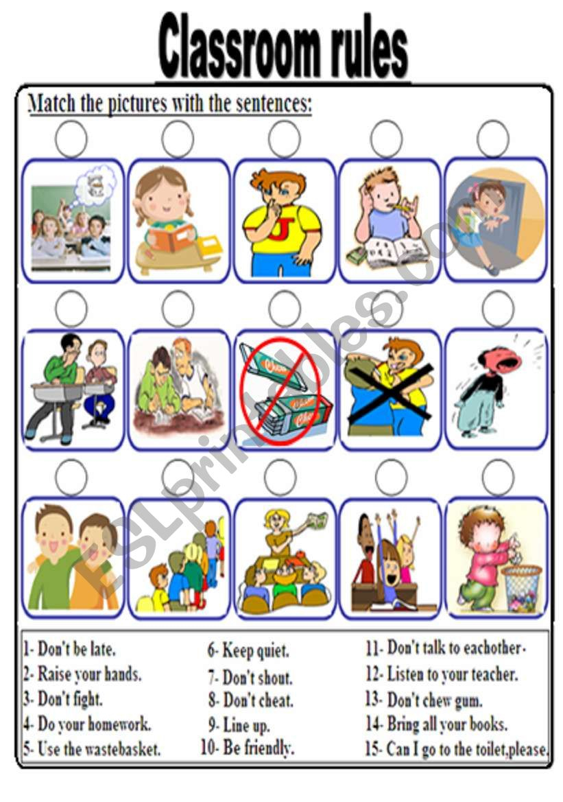 Classroom Rules - Esl Worksheetbolflayke - Free Printable Classroom | Free Printable Classroom Rules Worksheets