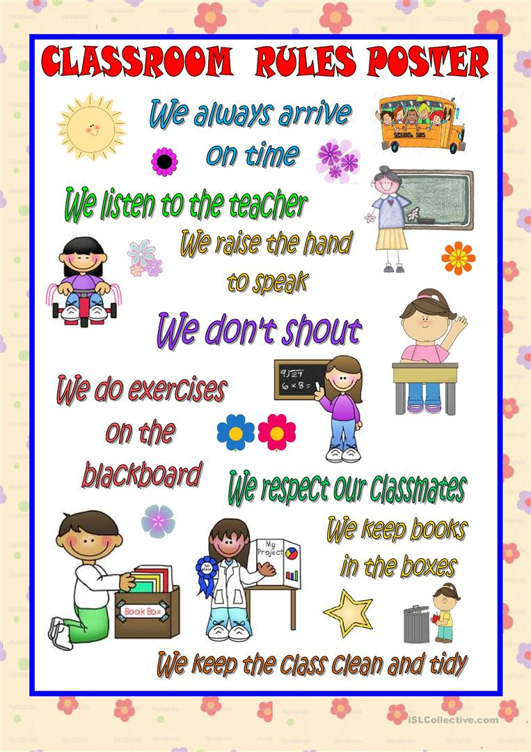 Classroom Rules Poster Worksheet - Free Esl Printable Worksheets | Free Printable Classroom Rules Worksheets