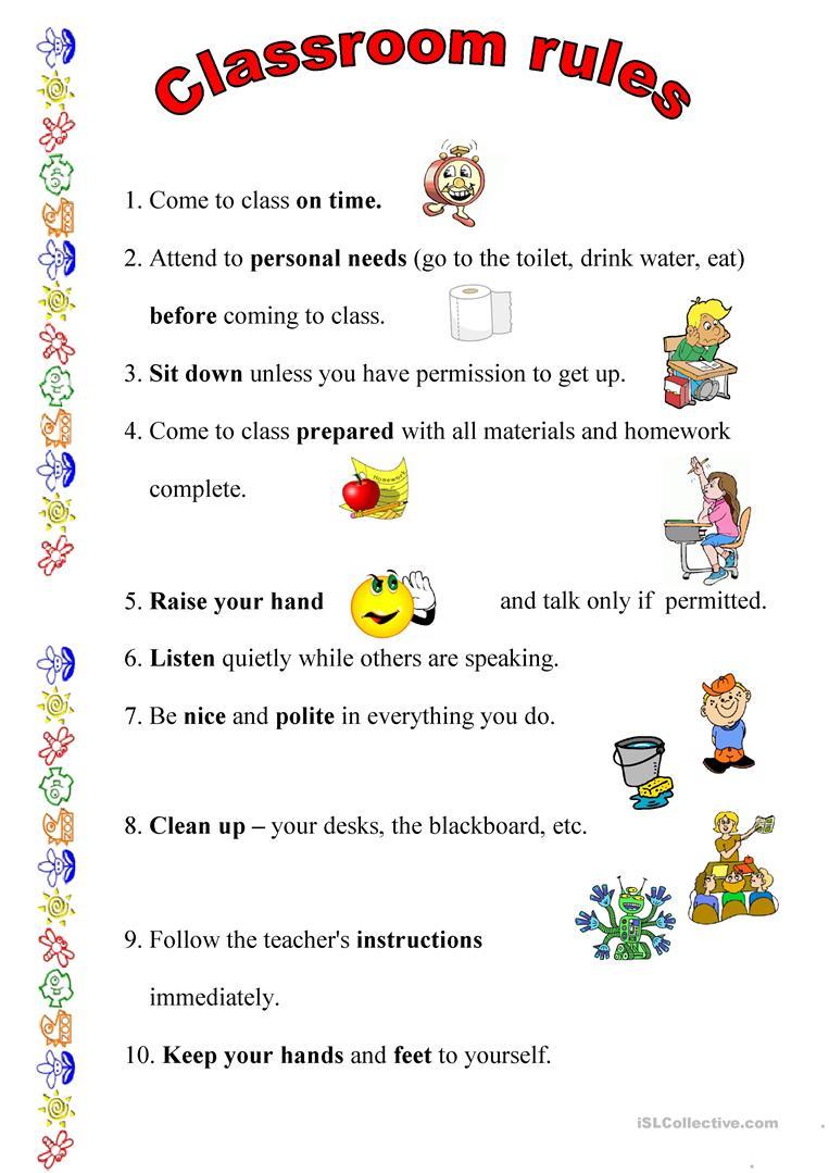 Classroom Rules Worksheet - Free Esl Printable Worksheets Made | Free Printable Classroom Rules Worksheets