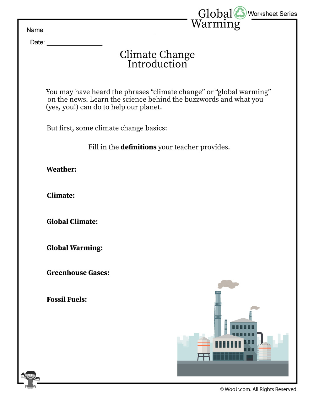 Climate Change Basics And Definitions Worksheet | Woo! Jr. Kids | Climate Change Printable Worksheets