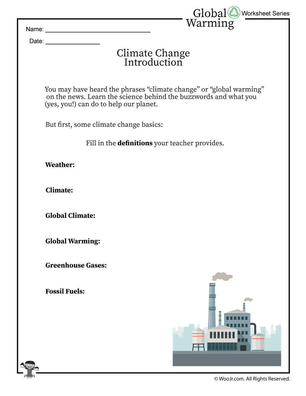 Climate Change Basics And Definitions Worksheet | Woo! Jr. Kids | Climate Change Printable Worksheets