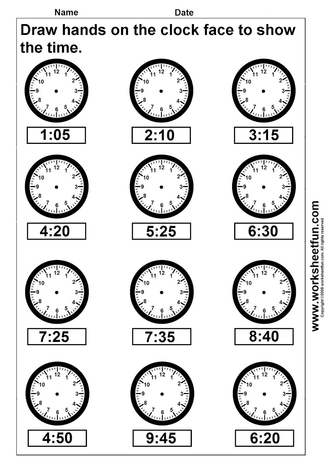 Clock Telling Time Worksheet Printable | Worksheetfun - Free | Free Printable Time Worksheets For Kindergarten