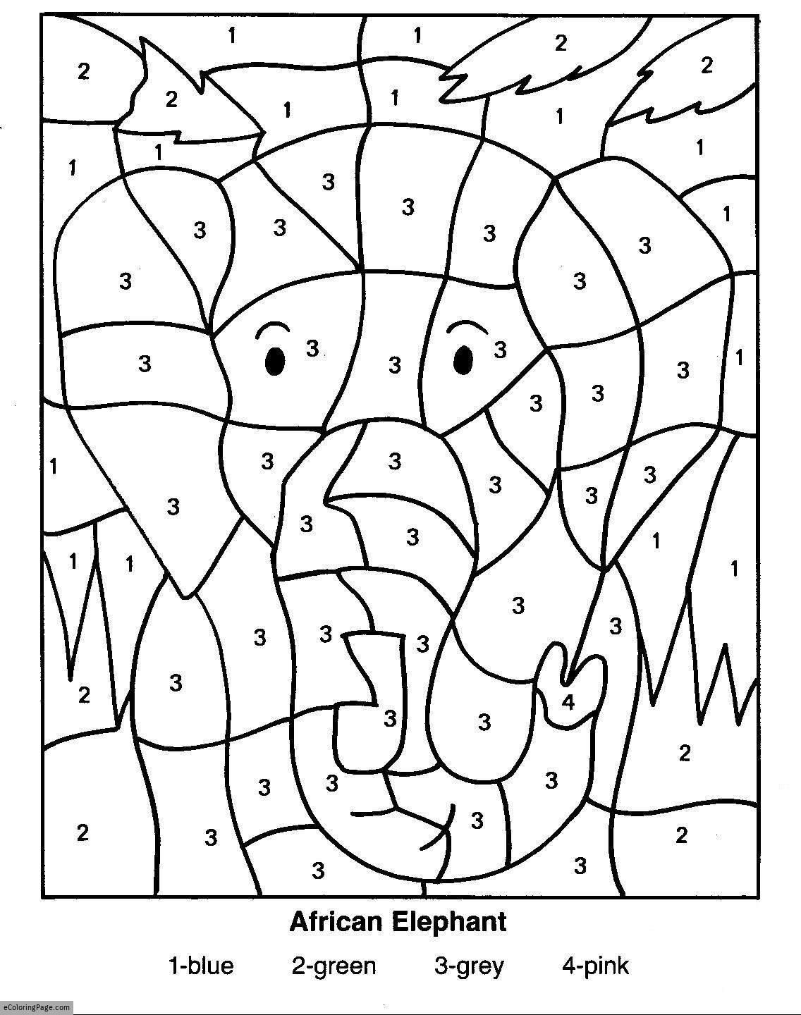 Color-By-Numbers-Elephant-Coloring-Pages-For-Kids-Printable | Printable Color By Number Math Worksheets