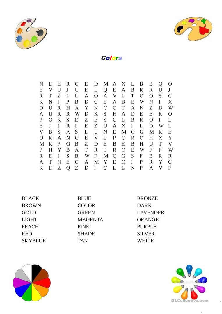 Colors Word Search Worksheet - Free Esl Printable Worksheets Made | Colours Wordsearch Printable Worksheets