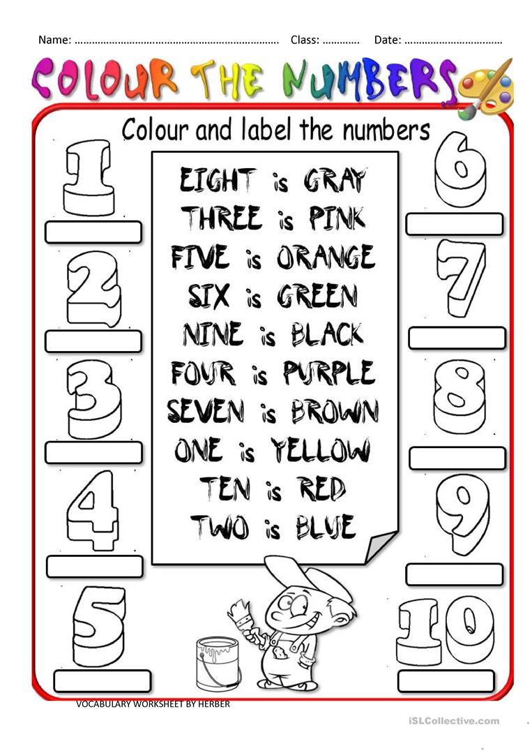 Colour The Numbers Worksheet - Free Esl Printable Worksheets Made | Numbers Printable Worksheets