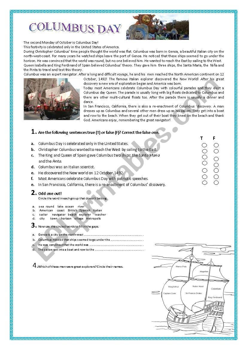 Columbus Day - Esl Worksheetpallino | Columbus Day Worksheets Printable