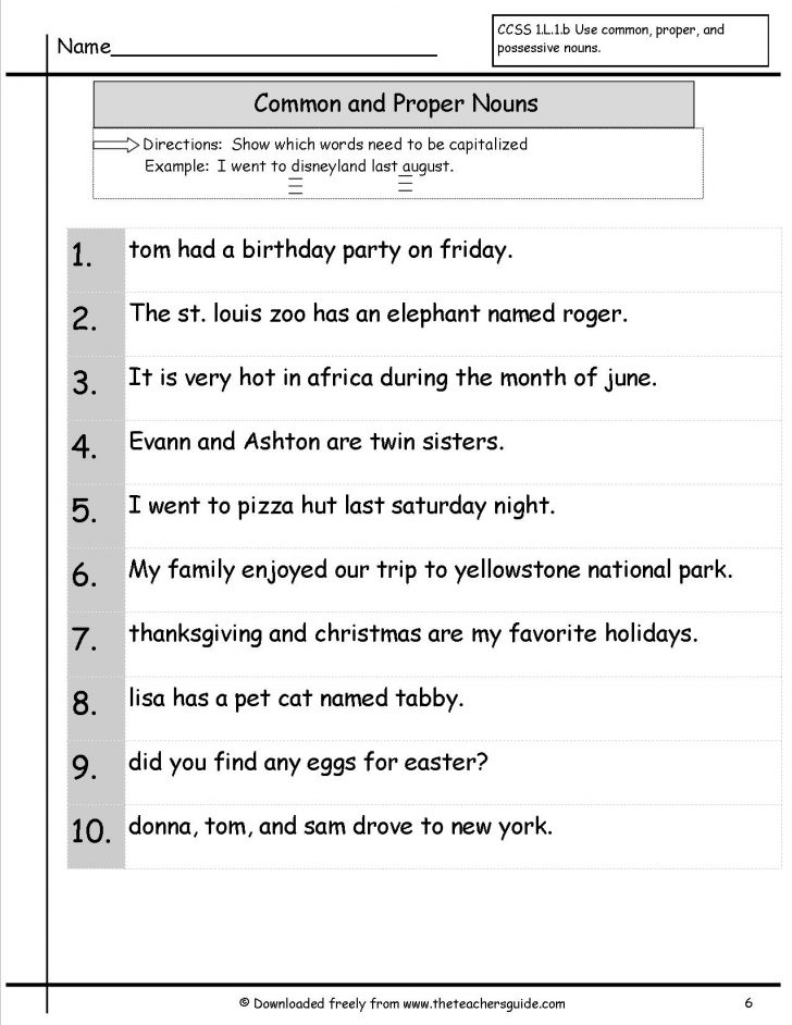 Common And Proper Nouns Printable Worksheets