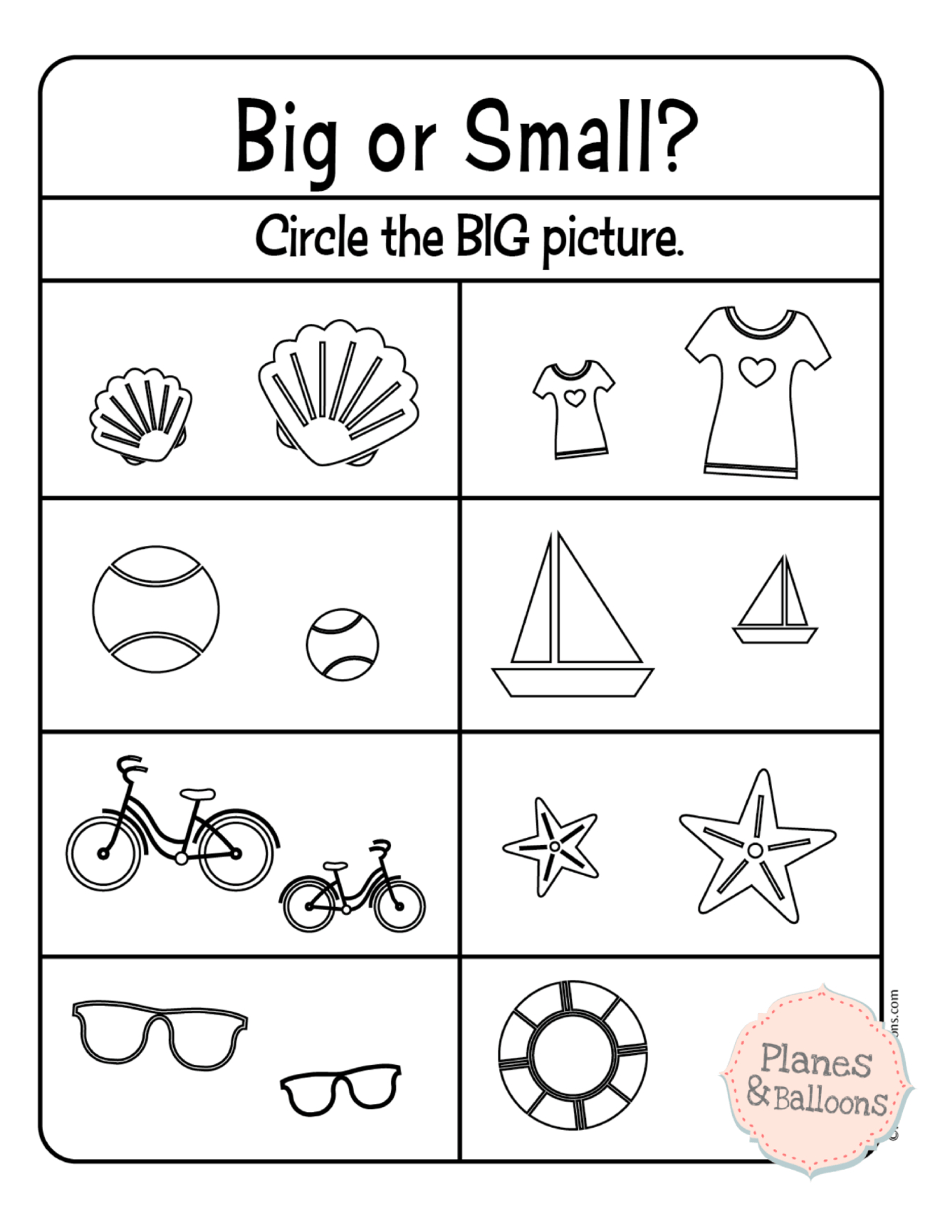 Comparing Size: Big And Small Worksheets For Your Busy Preschooler | Big And Small Ideas Printable Worksheets