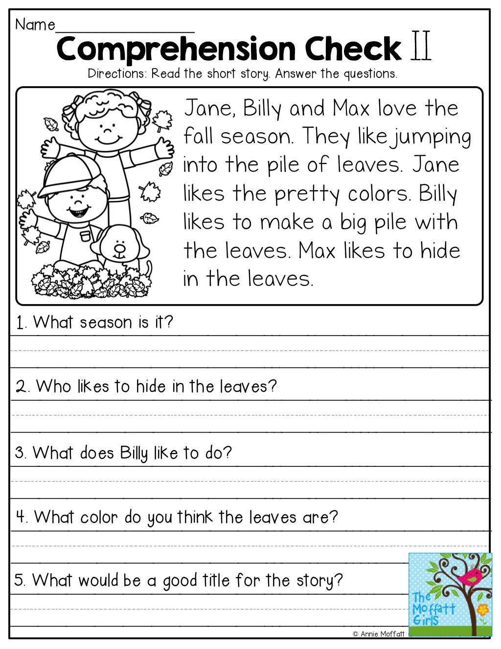 Comprehension Checks And So Many More Useful Printables | 1St Grade Reading Comprehension Worksheets Printable
