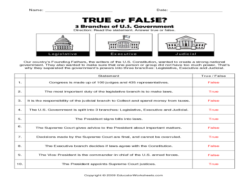 Constitution Worksheets Free 3 Branches Government Worksheet - Free | Free Printable Us Constitution Worksheets