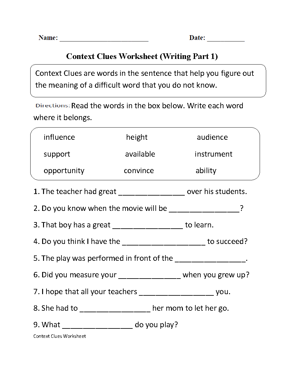 Context Clues Worksheet Writing Part 1 Intermediate | Ela | Context | 3Rd Grade Language Arts Worksheets Printables