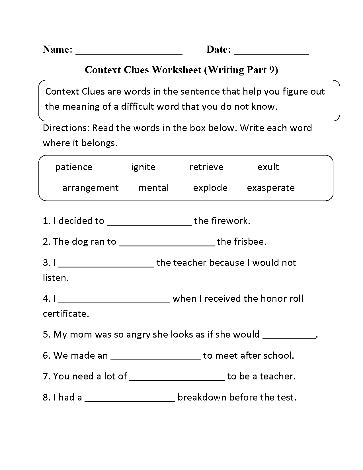 Context Clues Worksheet Writing Part 9 Intermediate | Context Clues | Free Printable Context Clues Worksheets
