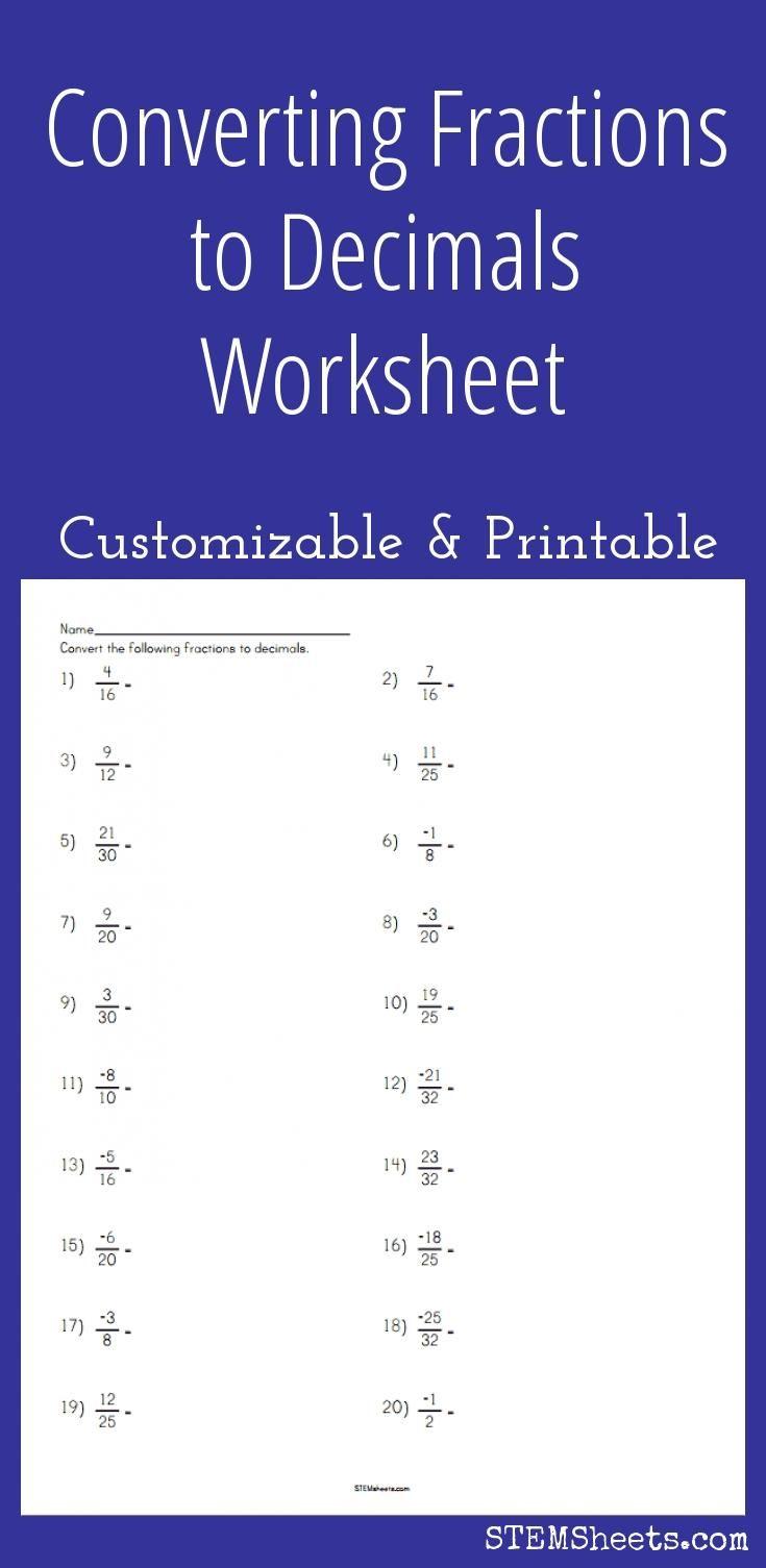 Converting Fractions To Decimals Worksheet - Customizable And | Fractions To Decimal Worksheets Printable