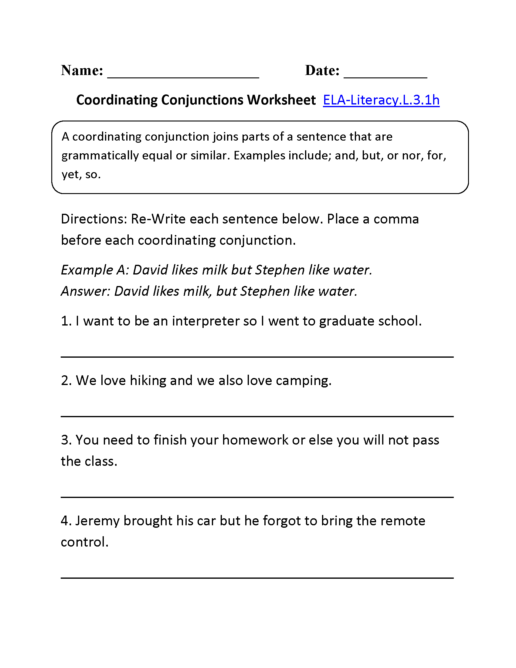 Coordinating Conjunctions Worksheet 1 (L.3.1) | L.3.1 | English | 3Rd Grade English Worksheets Printable