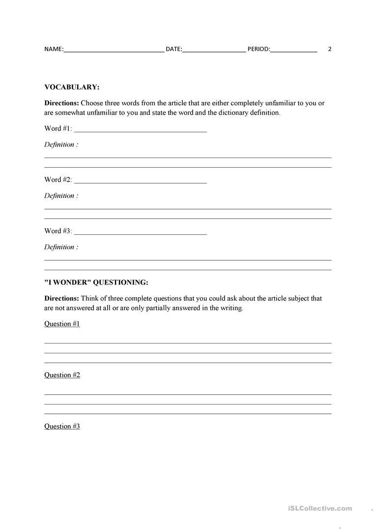 Current Events Template Worksheet - Free Esl Printable Worksheets | Current Events Printable Worksheet