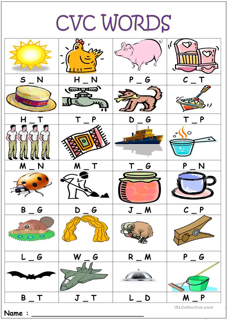 Cvc Words- Medial Sounds Worksheet - Free Esl Printable Worksheets | Cvc Worksheet Printable