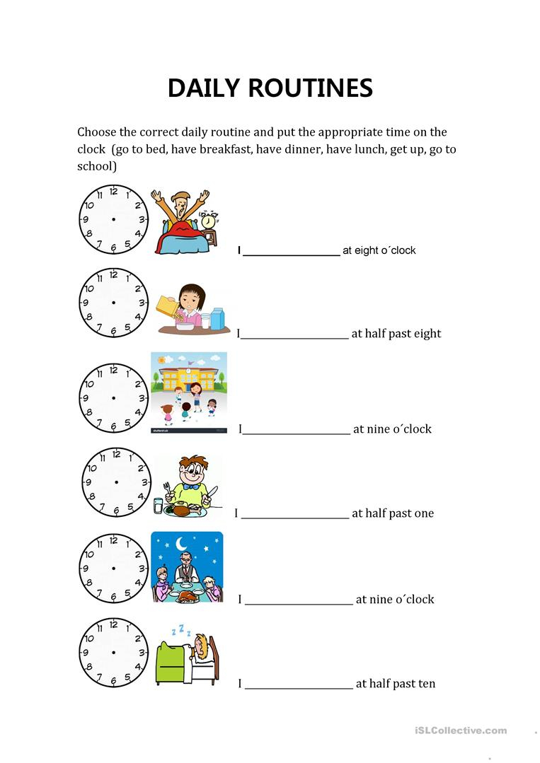 Daily Routines And Hours Worksheet - Free Esl Printable Worksheets | Daily Routines Printable Worksheets