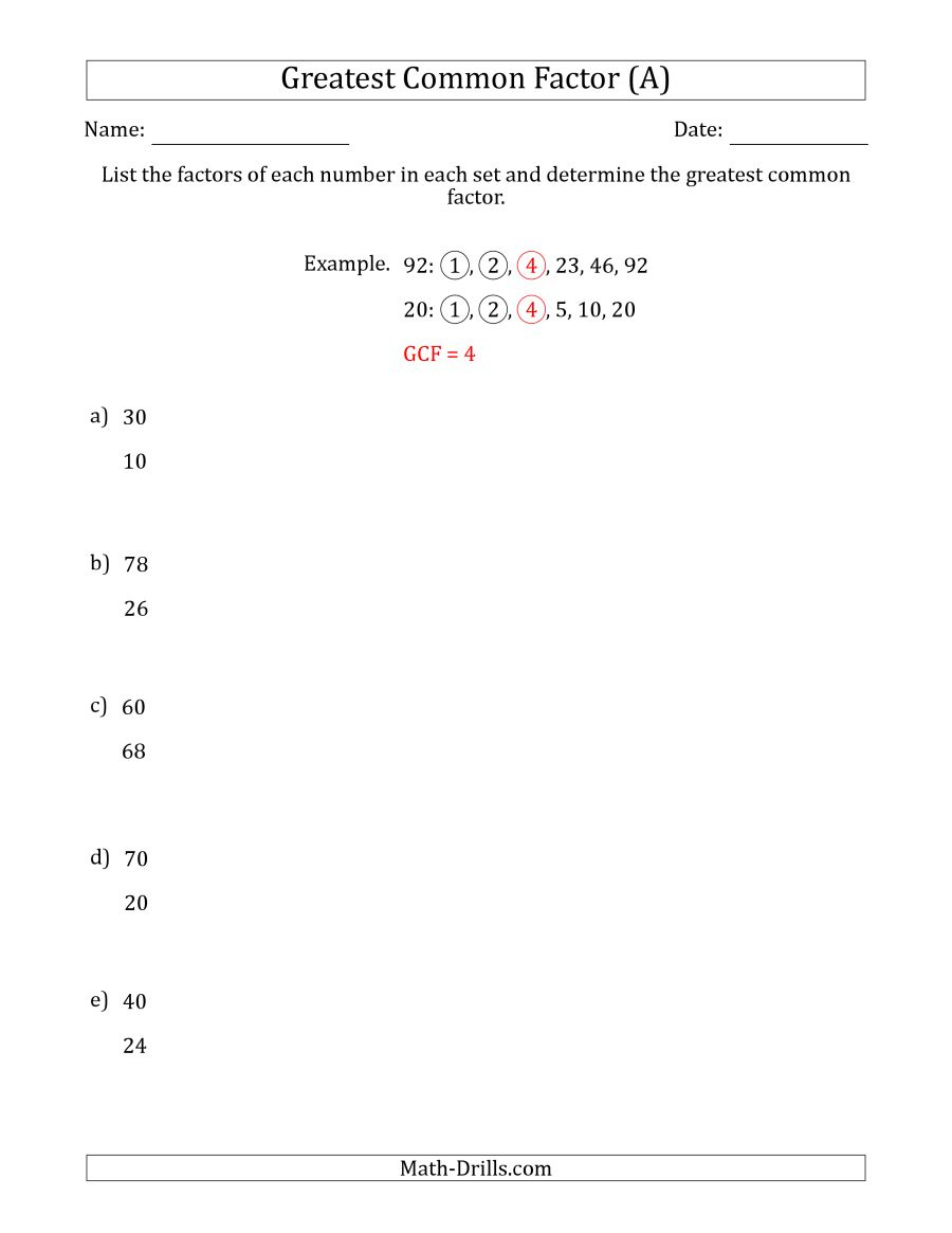 Determining Greatest Common Factors Of Sets Of Two Numbers From 4 To | Free Printable Greatest Common Factor Worksheets