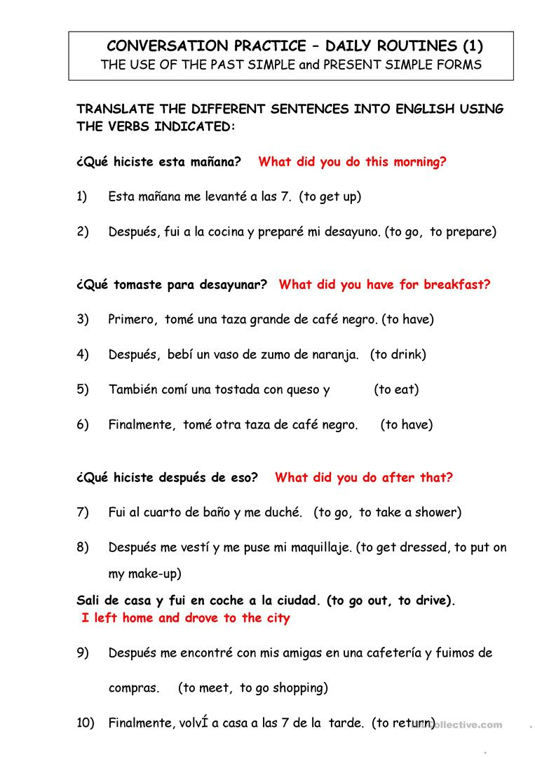 Dialy Routines. Translate From Spanish To English Worksheet - Free | English Worksheets Printables