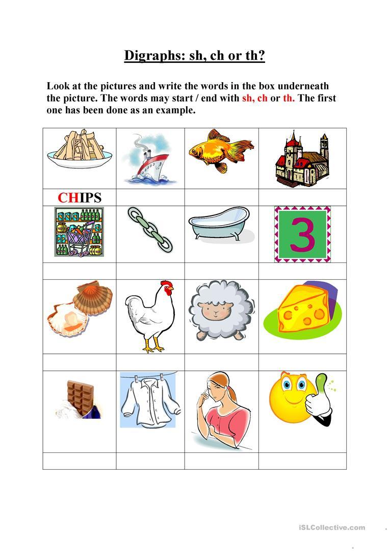 Digraphs, Sh, Ch, Th Worksheet - Free Esl Printable Worksheets Made | Printable Ch Worksheets