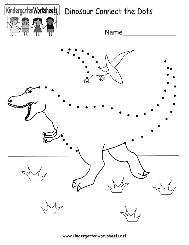 Dinosaur Connect-The-Dots Worksheet. After Connecting All Of The | Dinosaur Printable Worksheets