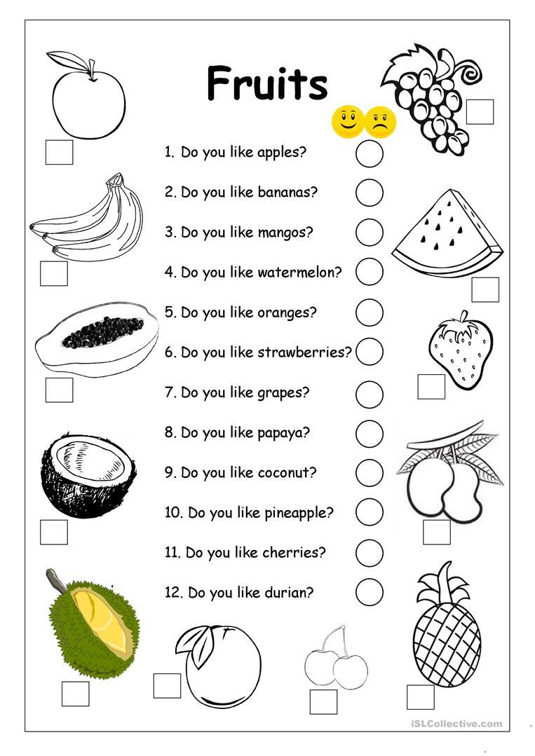 Do You Like Apples? - Fruits Worksheet Worksheet - Free Esl | Free Printable Esl Worksheets