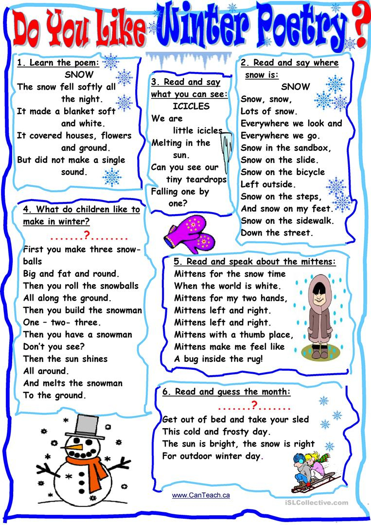 Do You Like Winter Poetry? Worksheet - Free Esl Printable Worksheets | Poetry Worksheets Printable