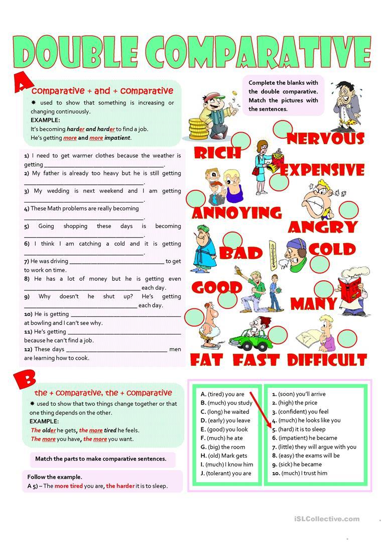 Double Comparatives Worksheet - Free Esl Printable Worksheets Made | Comparative Worksheets Printable