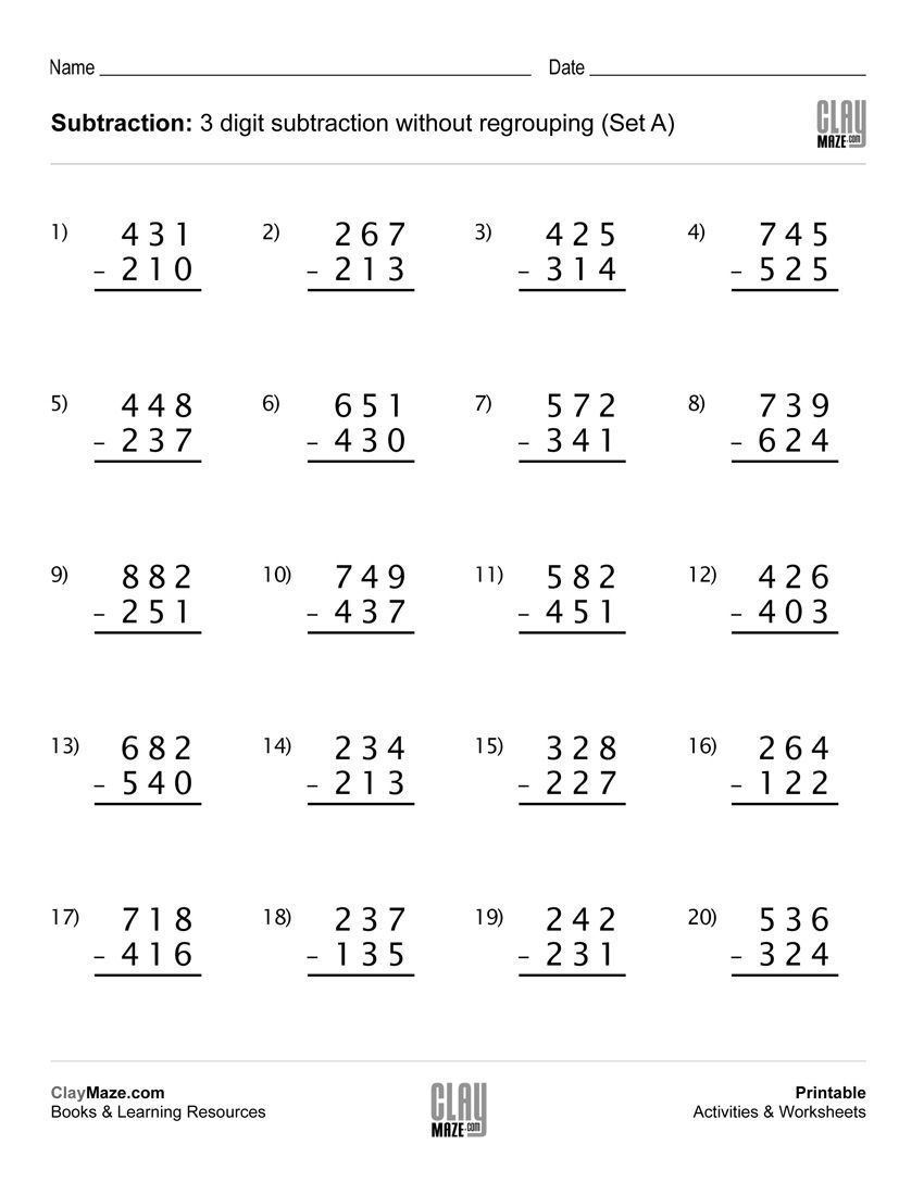 Download Our Free Printable 3 Digit Subtraction Worksheet With No | Free Printable Subtraction Worksheets